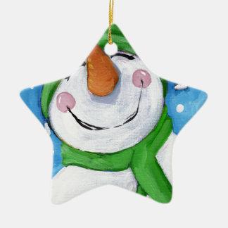 Ornement Étoile En Céramique Givré le bonhomme de neige heureux