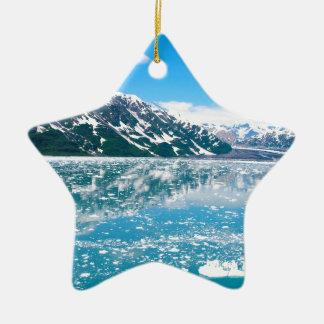 Ornement Étoile En Céramique Glace bleue abstraite Alaska de paysage de