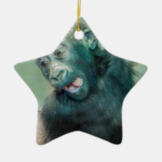 Ornement Étoile En Céramique Gorille de bébé