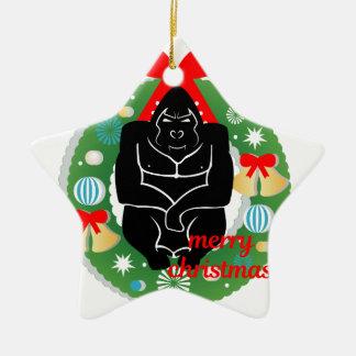 Ornement Étoile En Céramique gorille de Joyeux Noël