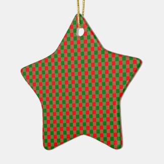 Ornement Étoile En Céramique Grand tartan rouge et vert de contrôle de guingan