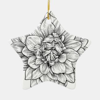 Ornement Étoile En Céramique Gravure à l'eau-forte de gravure sur bois en