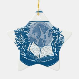 Ornement Étoile En Céramique Gravure sur bois en livre d'île d'orques de