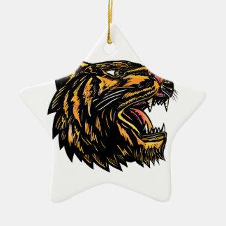 Ornement Étoile En Céramique Gravure sur bois en tigre de grognement