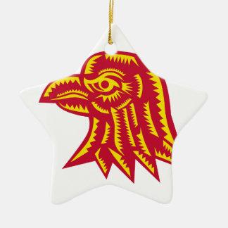 Ornement Étoile En Céramique Gravure sur bois latérale principale en Eagle