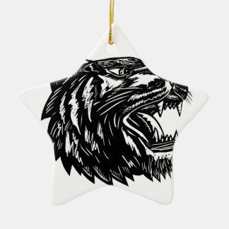 Ornement Étoile En Céramique Grognement Scratchboard de tigre
