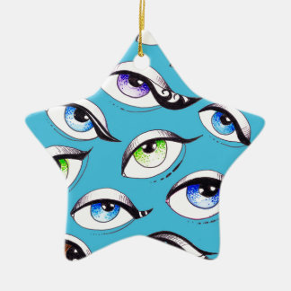 Ornement Étoile En Céramique Groupe de yeux bleus