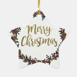 Ornement Étoile En Céramique Guirlande d'aquarelle - Joyeux Noël - branches
