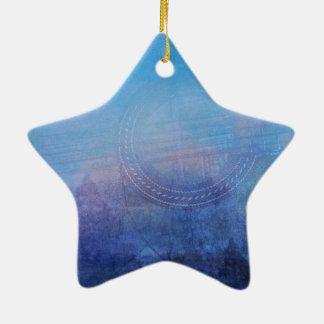 Ornement Étoile En Céramique Guitare abstraite et arbres bleus