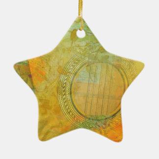 Ornement Étoile En Céramique Guitare et fleurs 1