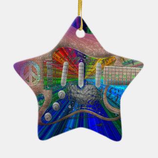 Ornement Étoile En Céramique Guitare vive de paix de couleurs - étoile