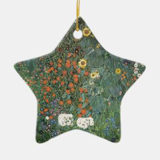 Ornement Étoile En Céramique Gustav Klimt - fleurs de tournesols de jardin de