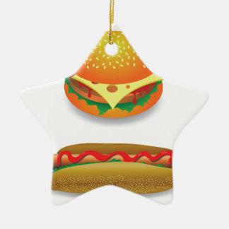 Ornement Étoile En Céramique Hamburger