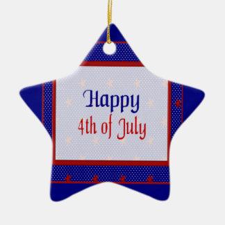 Ornement Étoile En Céramique Heureux 4 juillet, le rouge se tient le premier