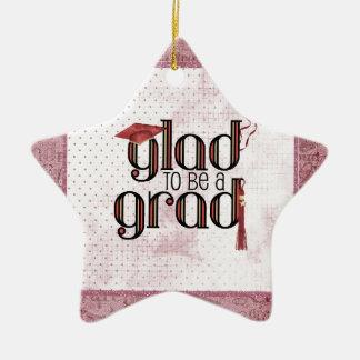 Ornement Étoile En Céramique Heureux d'être un diplômé, rouge, casquette,