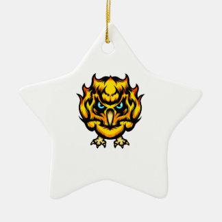 Ornement Étoile En Céramique Hibou du feu