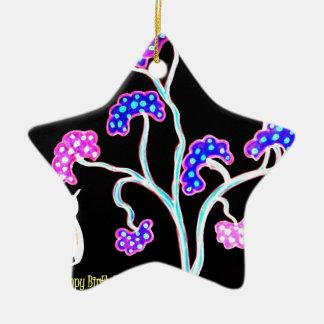 Ornement Étoile En Céramique Hirondelle-et-fruit-arbre-Heureux-Anniversaire