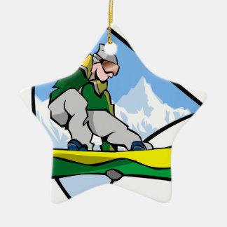 Ornement Étoile En Céramique Homme de snowboarding