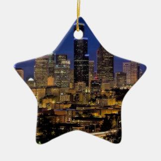 Ornement Étoile En Céramique Horizon de nuit de Seattle