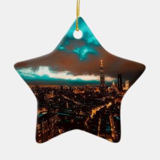 Ornement Étoile En Céramique Horizon de nuit de Taïpeh