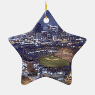 Ornement Étoile En Céramique Horizon de ville de Denver et champ de Coors la
