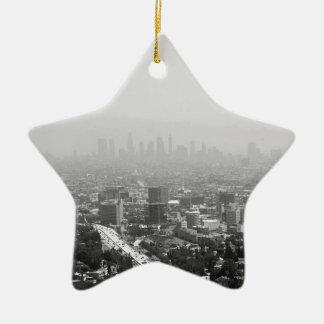 Ornement Étoile En Céramique Horizon noir et blanc de Los Angeles