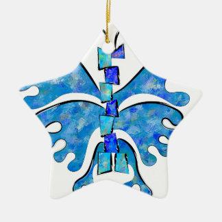Ornement Étoile En Céramique Icelonius - papillon bleu de glace