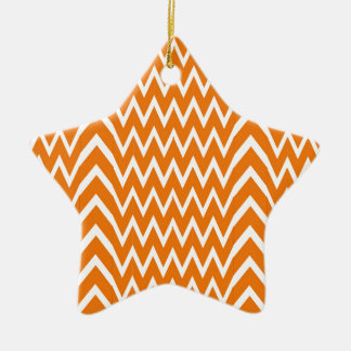 Ornement Étoile En Céramique Illusion orange de Chevron