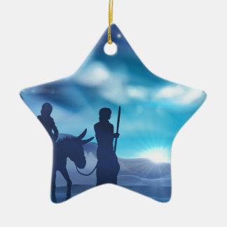 Ornement Étoile En Céramique Illustration de Noël de nativité de Mary et de
