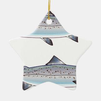 Ornement Étoile En Céramique Illustration de poissons d'océan de saumon