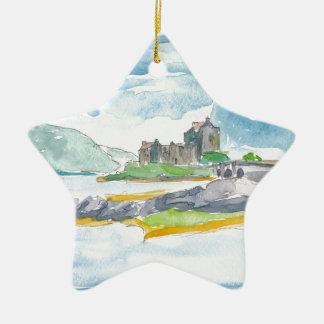 Ornement Étoile En Céramique Imaginaire de montagnes de l'Ecosse et château