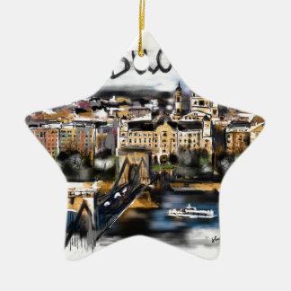 Ornement Étoile En Céramique J'aime Budapest