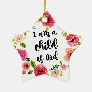 Ornement Étoile En Céramique Je suis un enfant de l'article floral de Dieu