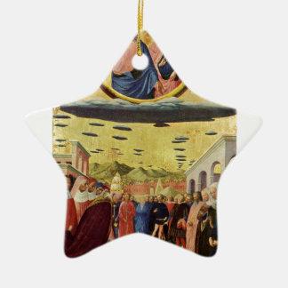 Ornement Étoile En Céramique Jésus monte un UFO