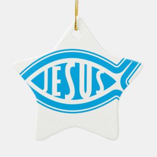 Ornement Étoile En Céramique Jésus-Poisson