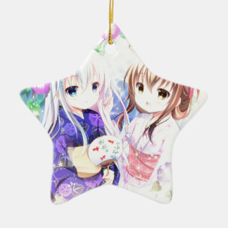 Ornement Étoile En Céramique Jeunes filles dans Yukata