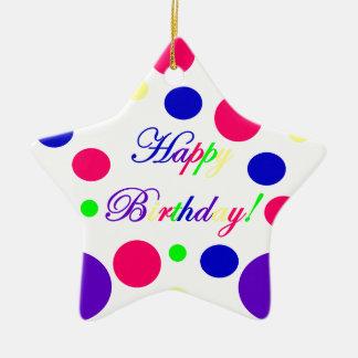 Ornement Étoile En Céramique Joyeux anniversaire !