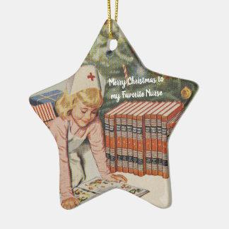 Ornement Étoile En Céramique Joyeux Noël à mon infirmière préférée - rétro