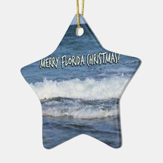Ornement Étoile En Céramique Joyeux Noël de la Floride au-dessus de l'océan