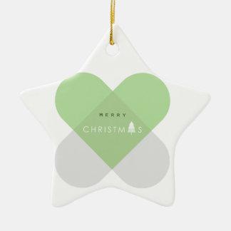 Ornement Étoile En Céramique Joyeux Noël - vert