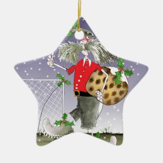 Ornement Étoile En Céramique joyeux passionés du football de Noël