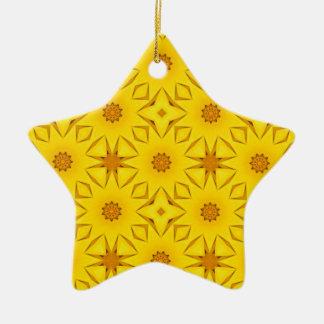 Ornement Étoile En Céramique Kaléidoscope des tournesols, jaune lumineux