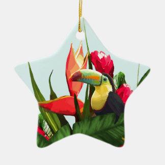 Ornement Étoile En Céramique La banane tropicale de toucan part du bouquet