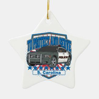 Ornement Étoile En Céramique La Caroline du Sud pour protéger et servir la