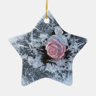 Ornement Étoile En Céramique La glace congelée par Noël s'est levée