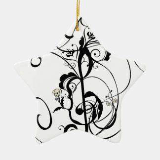 Ornement Étoile En Céramique La musique note l'ornement floral