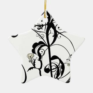 Ornement Étoile En Céramique La musique note l'ornement floral 2