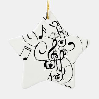 Ornement Étoile En Céramique La musique note l'ornement floral 3