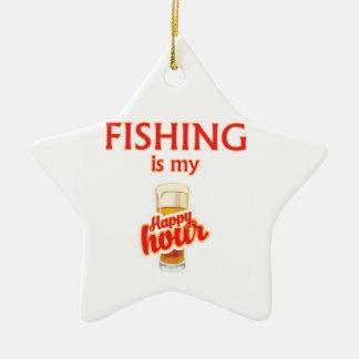 Ornement Étoile En Céramique La pêche est mon heure heureuse