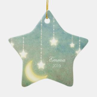 Ornement Étoile En Céramique La première lune de Noël du bébé tient le premier